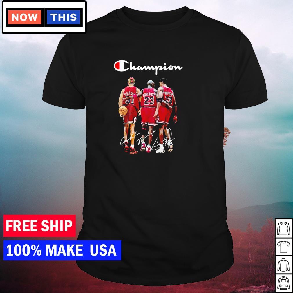 Chicago Bulls Rodman Jordan and Pippen Champion signature shirt