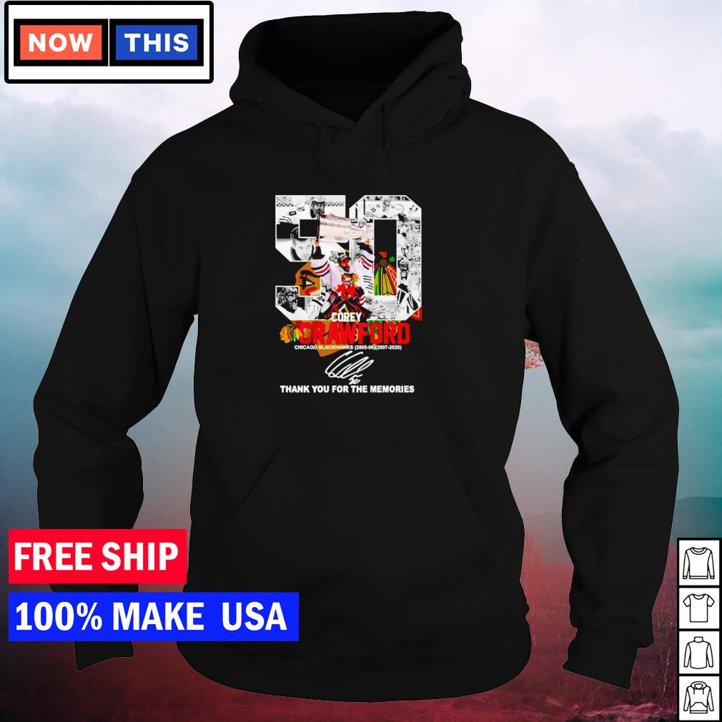 Corey Crawford Chicago Blackhawks number 50 thank you for the memories signature s hoodie