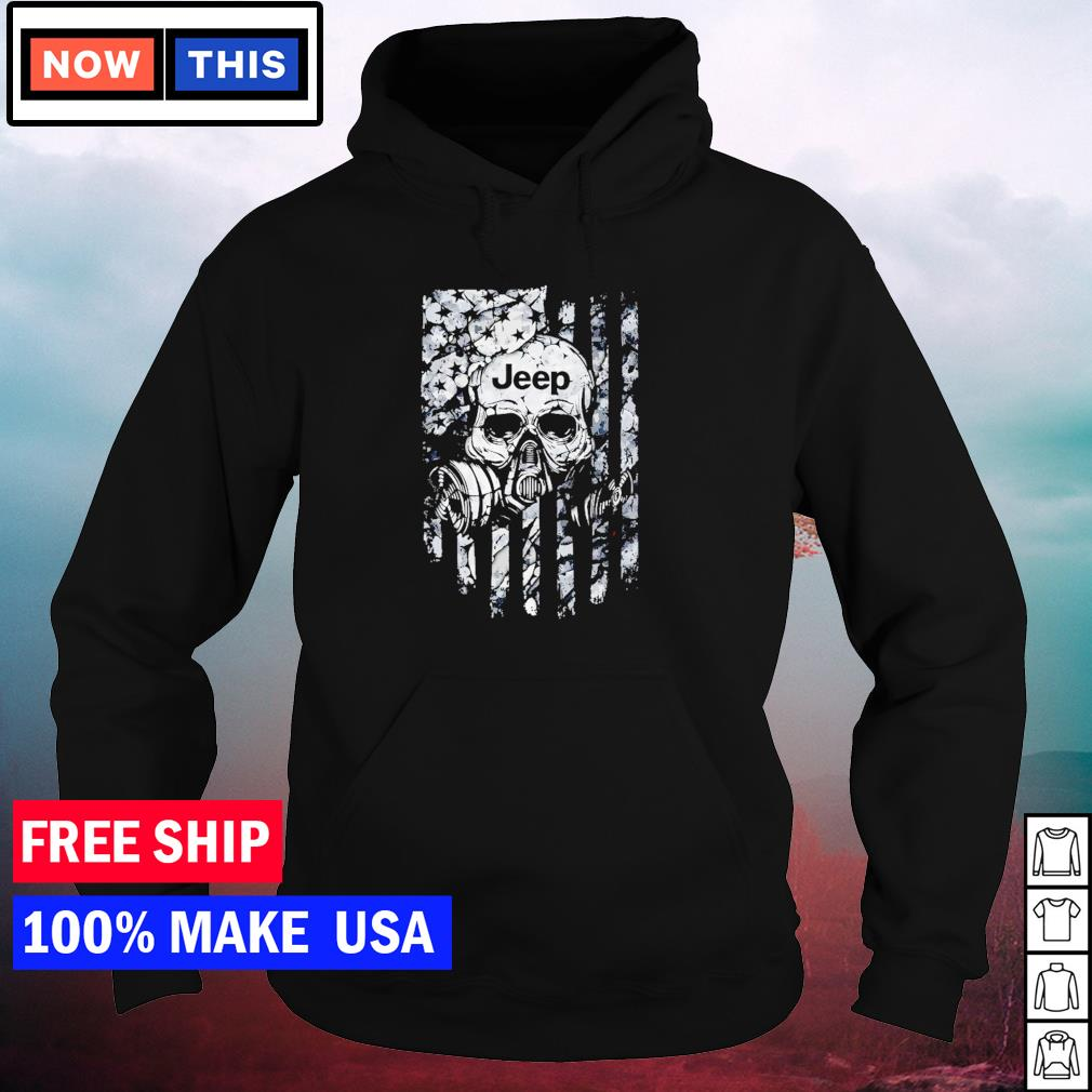 Skull wearing gas mask Jeep American Flag s hoodie