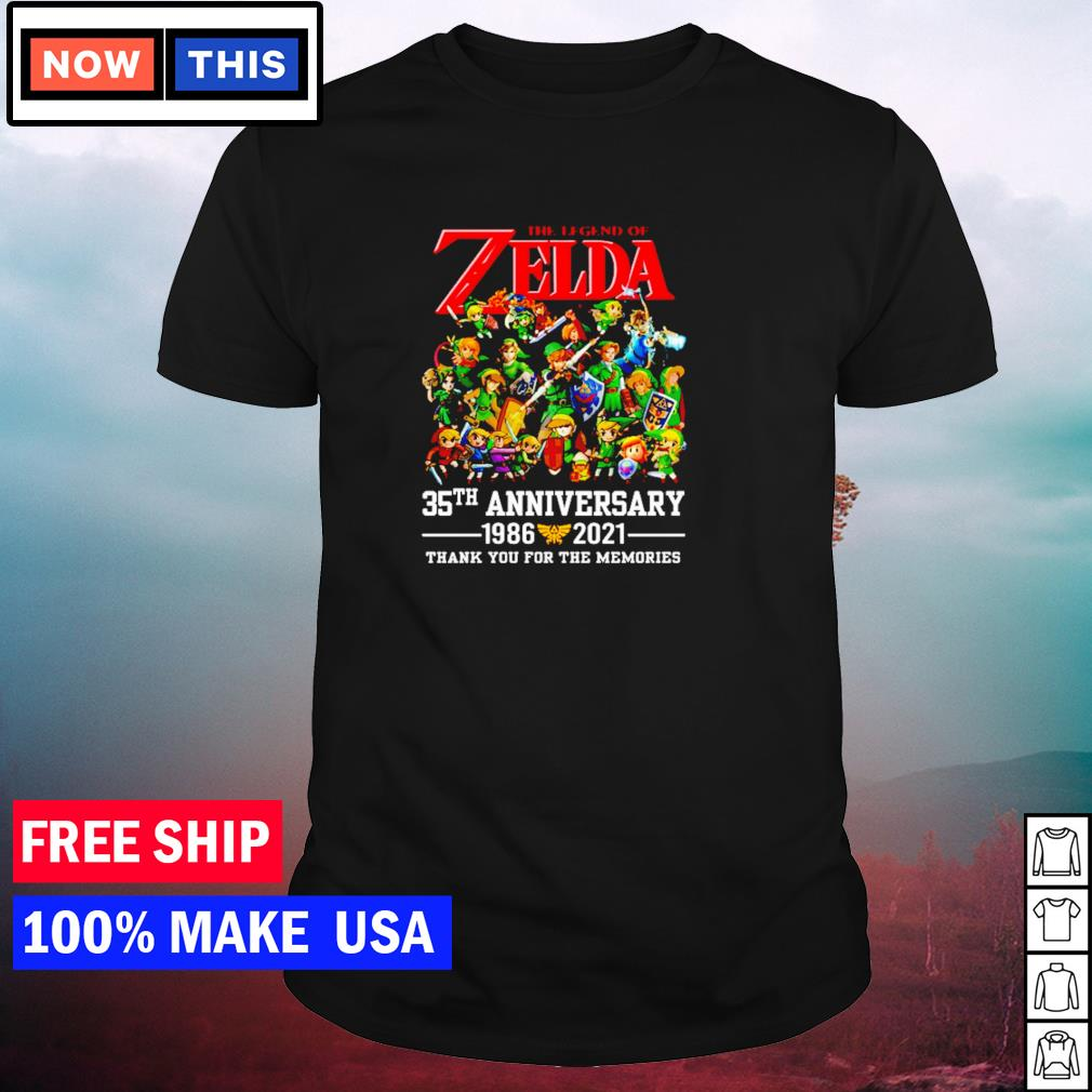 The legend of Zelda 35th anniversary 1986-2021 thank you for the memories signature shirt