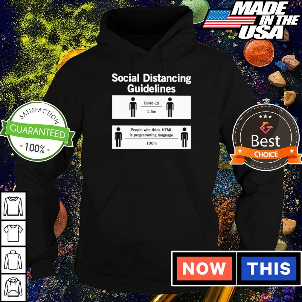 Social distancing guidelines covid-19 1.5m people who think HTML is programming language 100m s hoodie