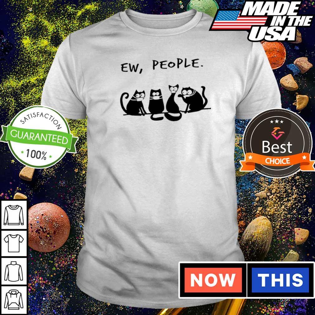 Black cat wearing mask ew people shirt