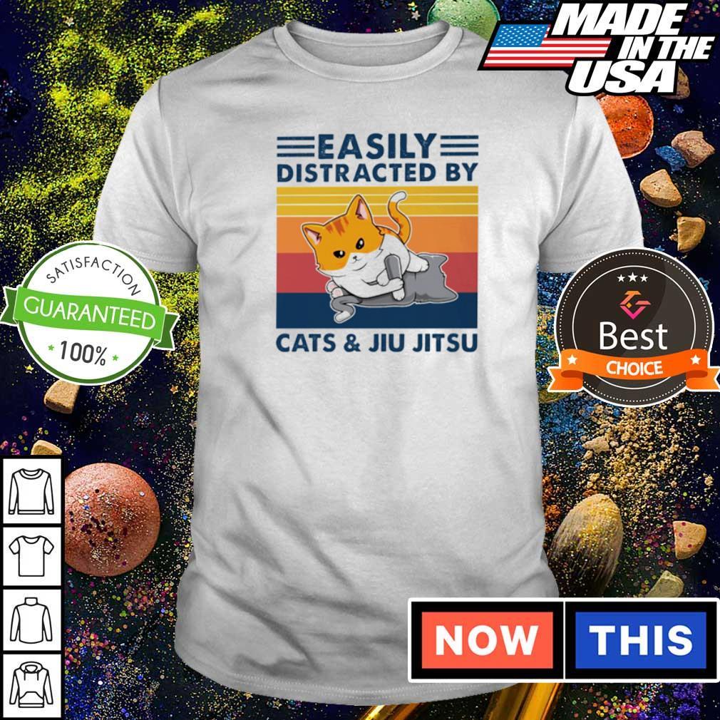 Easily distracted by Cats and Jiu Jitsu shirt