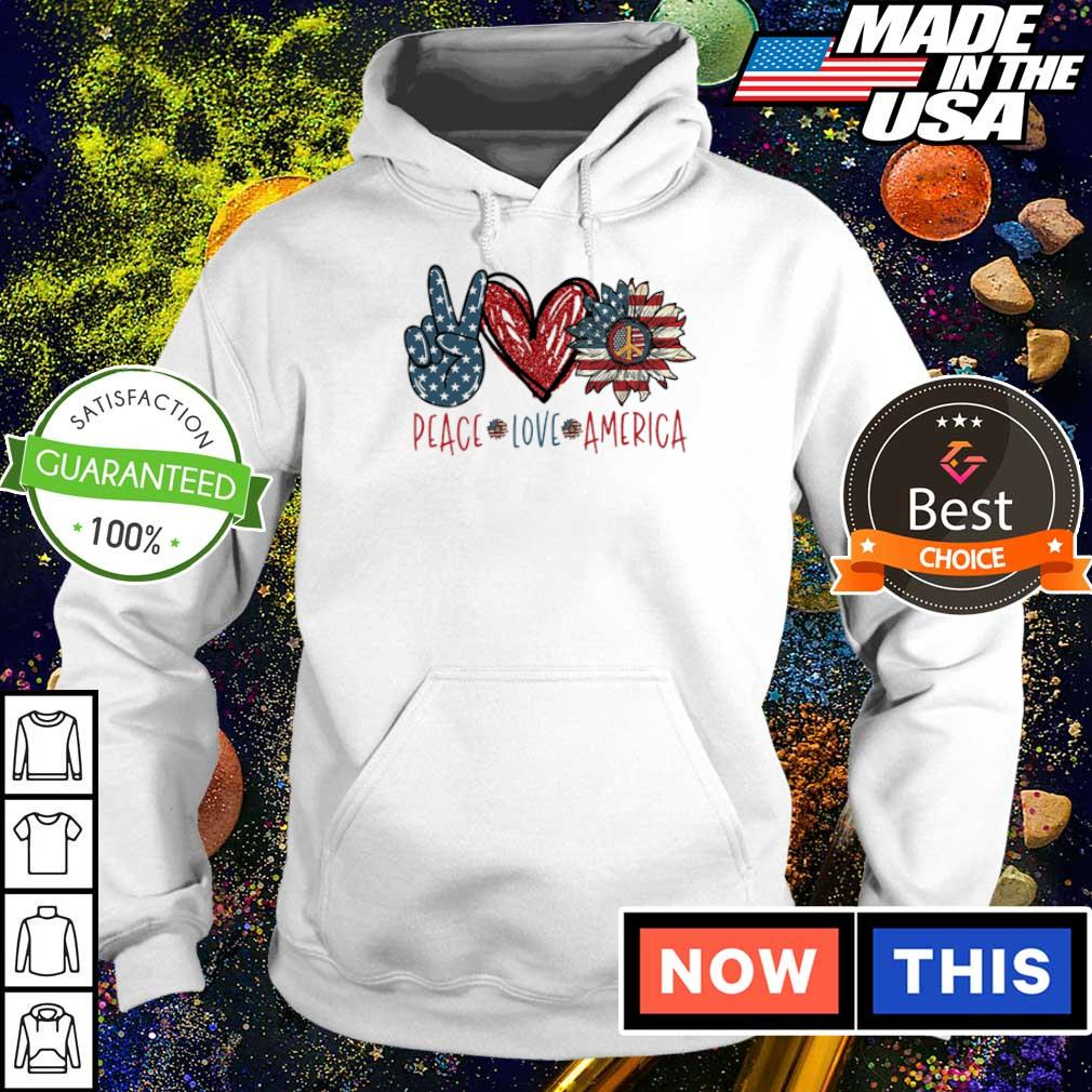 Peace love America Flag Sunflower s hoodie