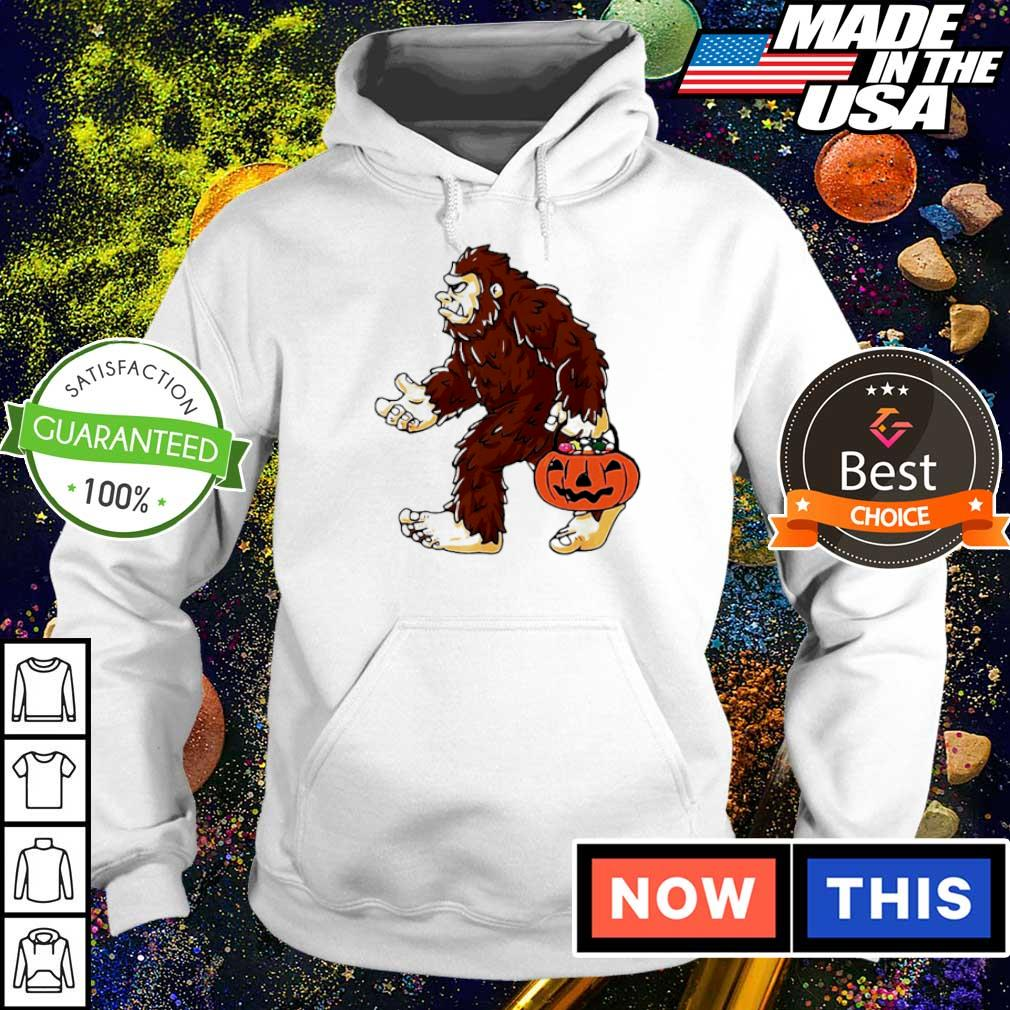 Bigfoot holding pumpkin trick or treat Halloween s hoodie