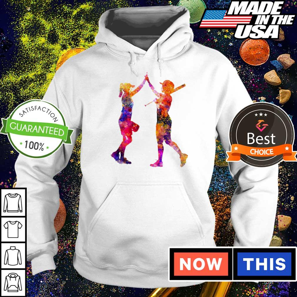 Softball bestie playing colorful s hoodie