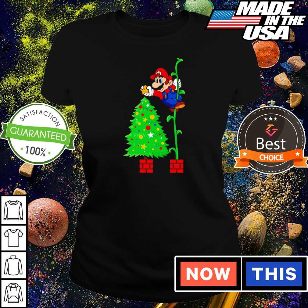 Awesome Mario and Christmas tree s ladies tee