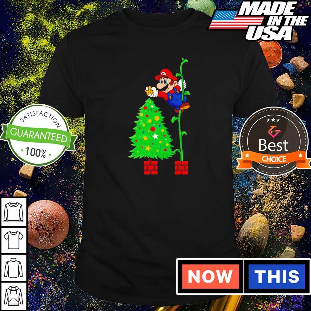 Awesome Mario and Christmas tree shirt