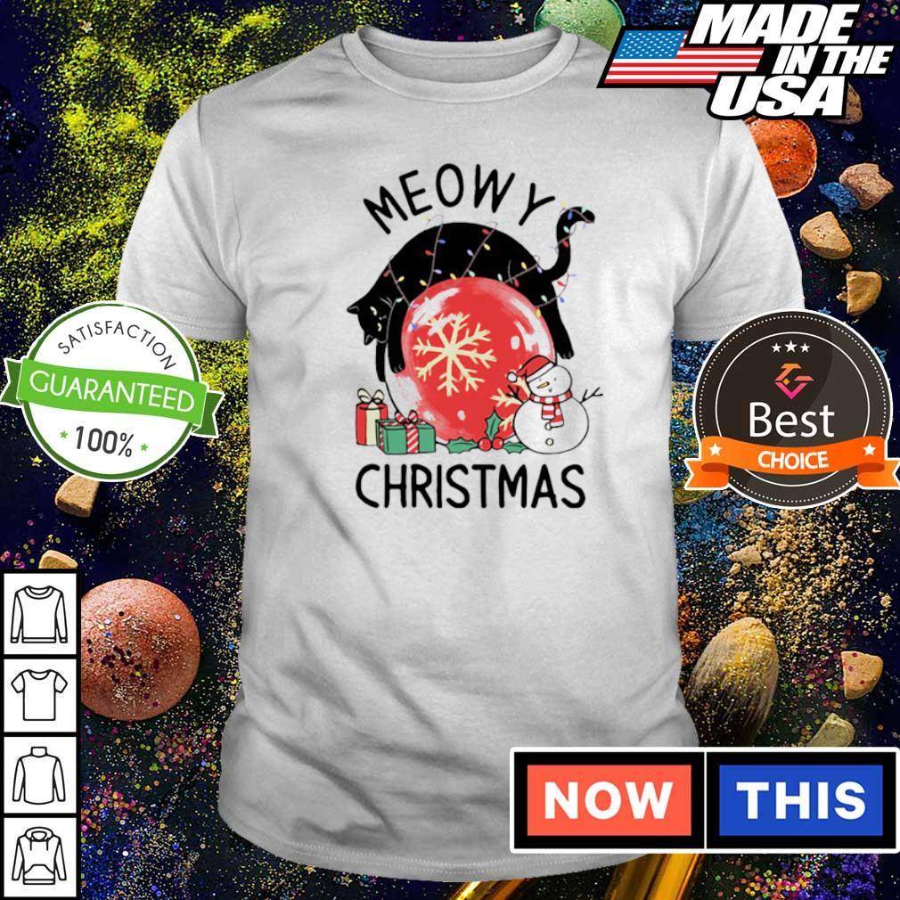 Black cat meowy merry Christmas shirt