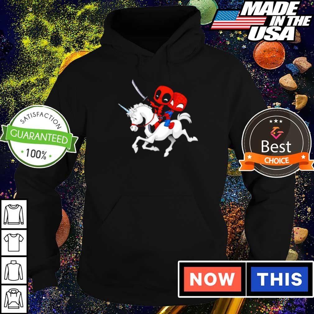 Chibi Deadpool and Spiderman riding horse s hoodie