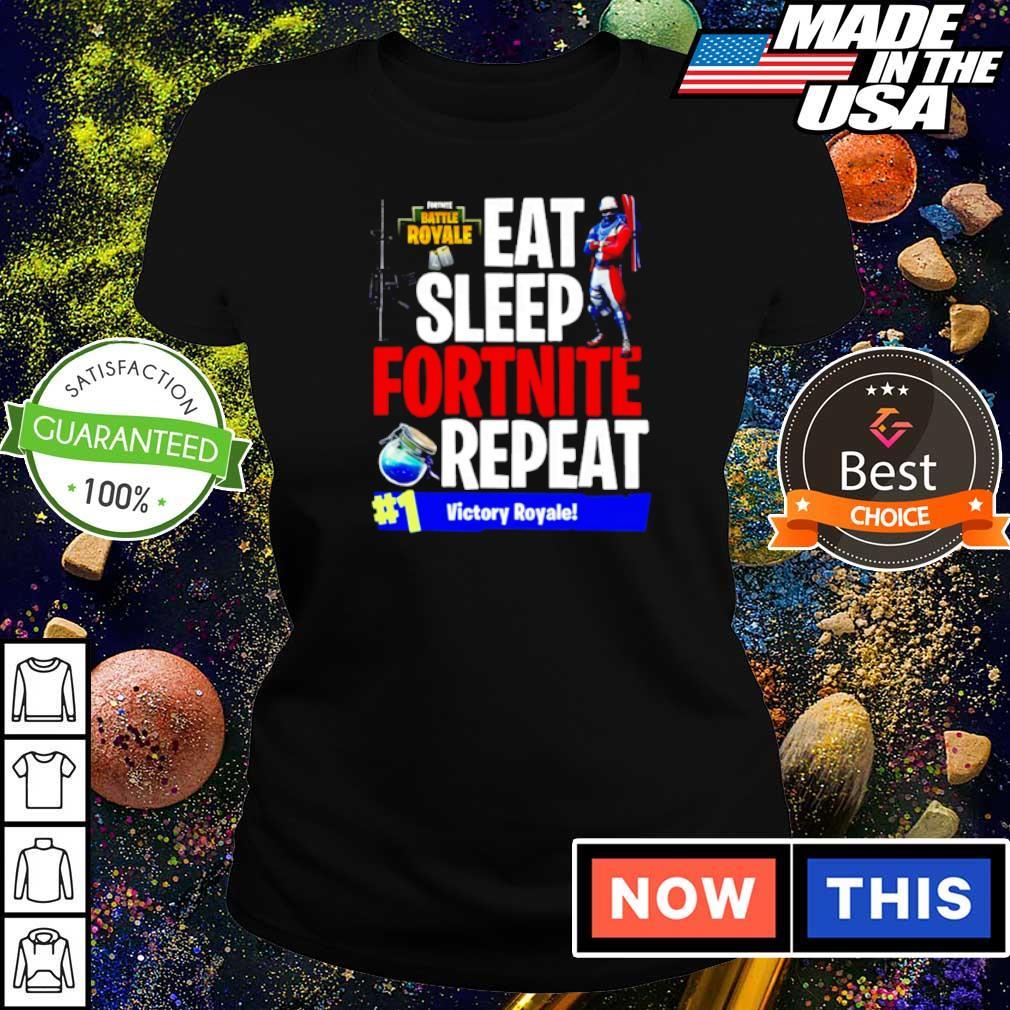 Eat sleep fortnite repeat #1 victory royale s ladies tee
