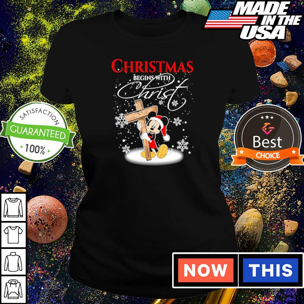 Mickey Mouse happy Chirstmas begin with Christ s ladies tee