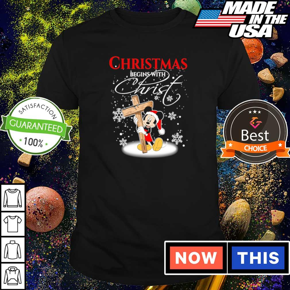 Mickey Mouse happy Chirstmas begin with Christ shirt