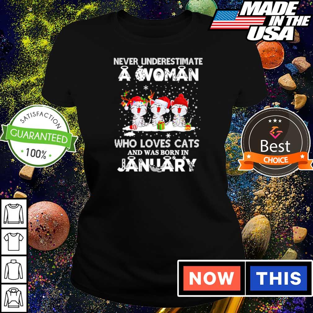 Never underestimate a woman who loves cats and was born in january s ladies tee