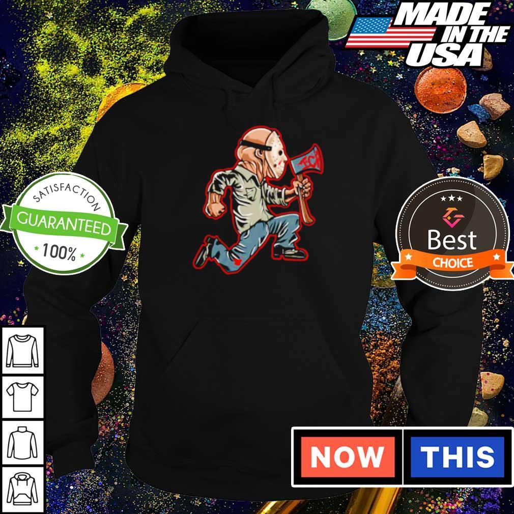 Scary Jason Voorhees running s hoodie