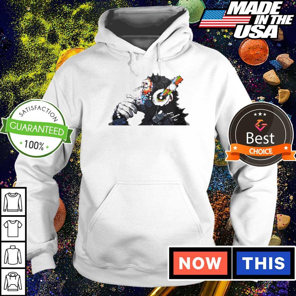 Banksy DJ monkey thinker with white headphones s hoodie