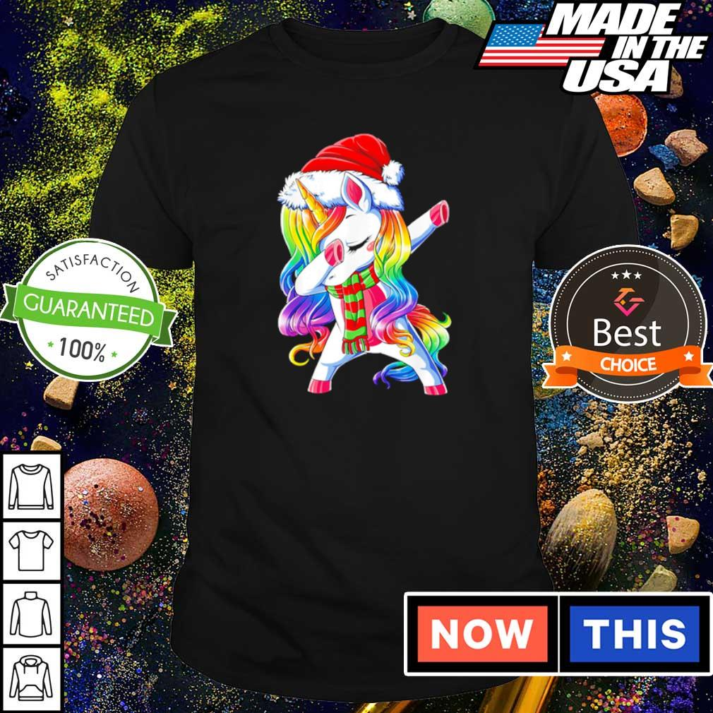 Dabbing unicorn Santa merry Christmas shirt