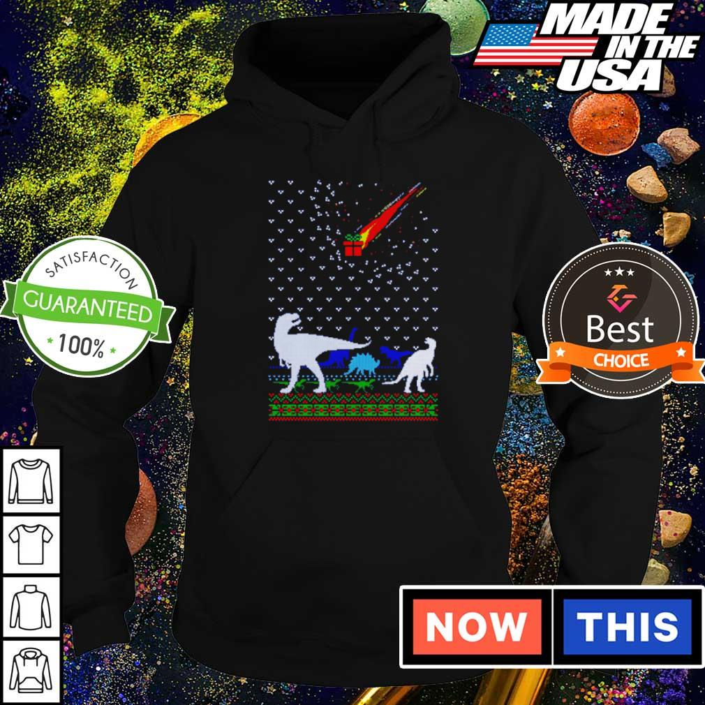 Funny dinosaur and present gifts merry Christmas sweater hoodie