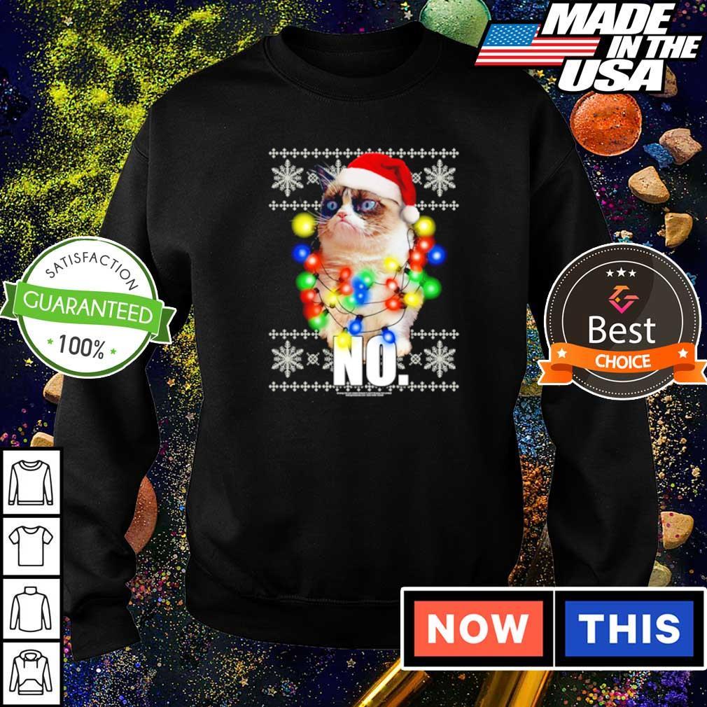 Grumpy cat no merry Christmas lights sweater