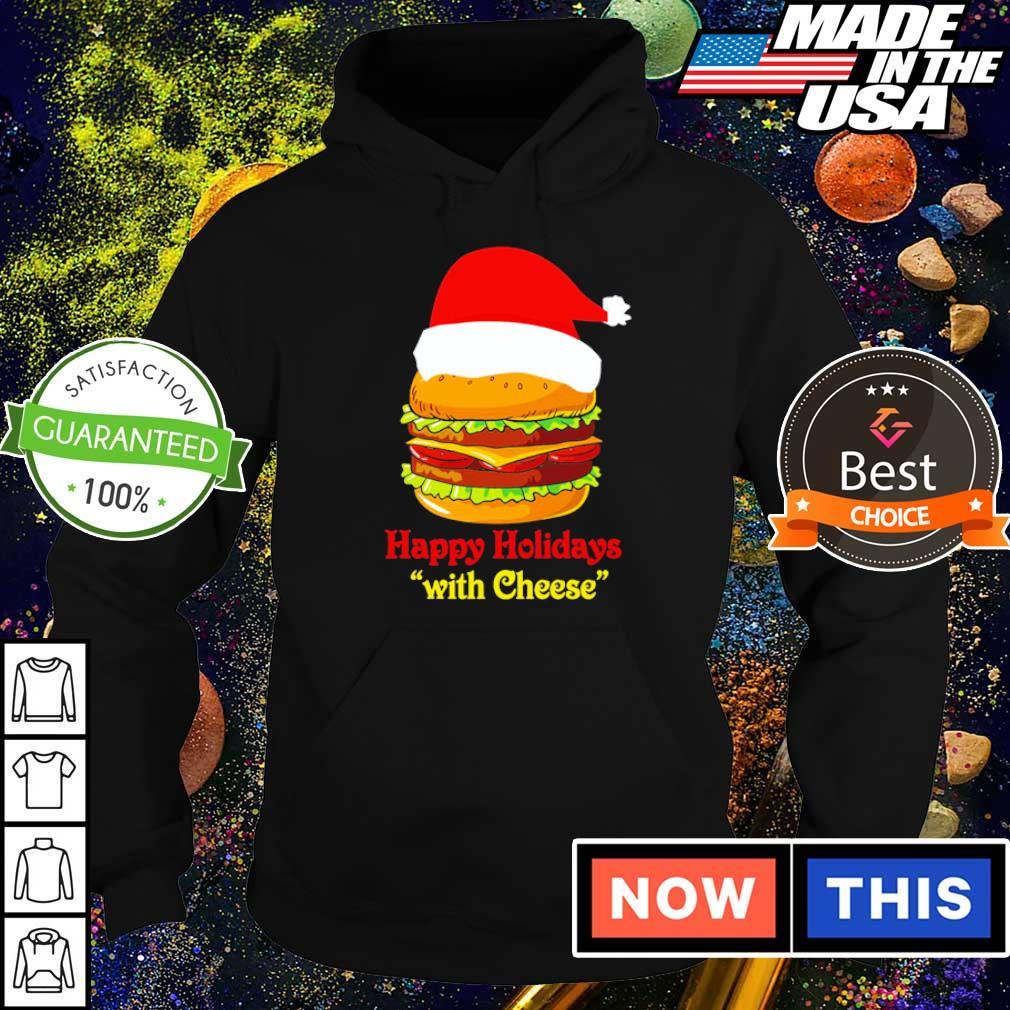 Hamburger Santa happy holidays with cheese Christmas sweater hoodie