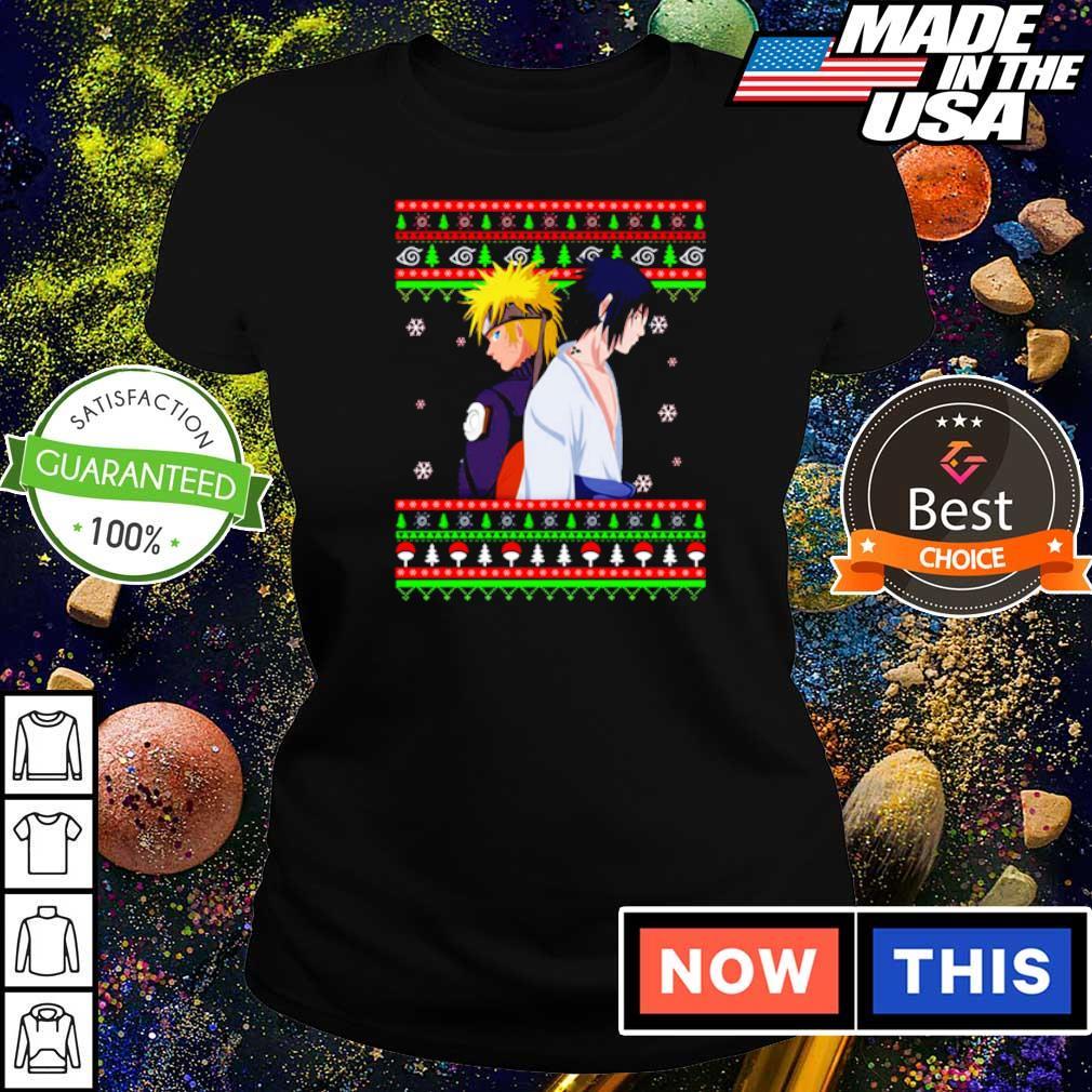 Naruto and Sasuke merry Christmas sweater ladies tee