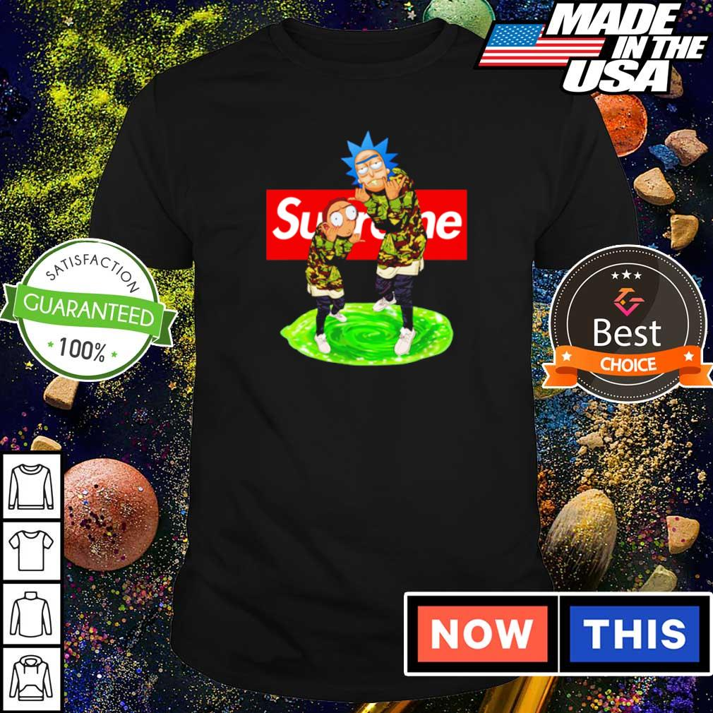 Rick and Morty wearing Supreme clothes shirt