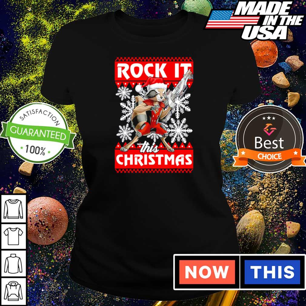 Rocket raccoon rock it this Christmas sweater ladies tee