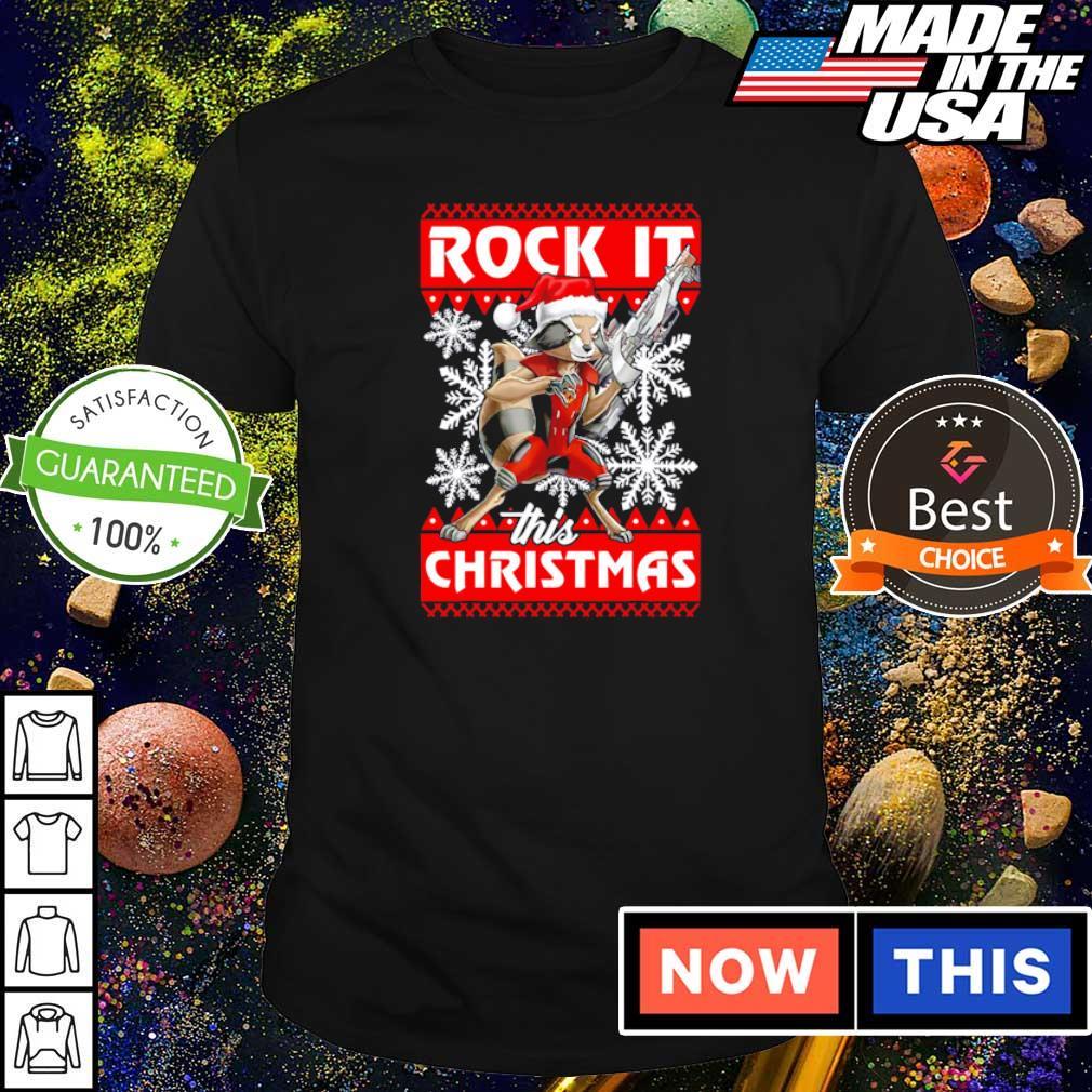 Rocket raccoon rock it this Christmas sweater shirt