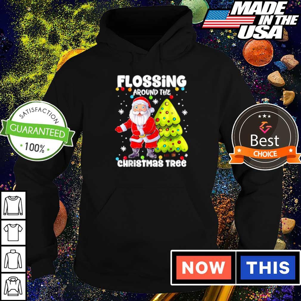 Satan Claus flossing around the Christmas tree sweater hoodie