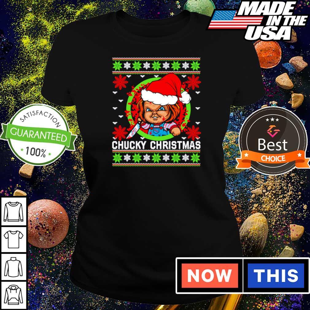 Scary Chucky merry Christmas sweater ladies tee