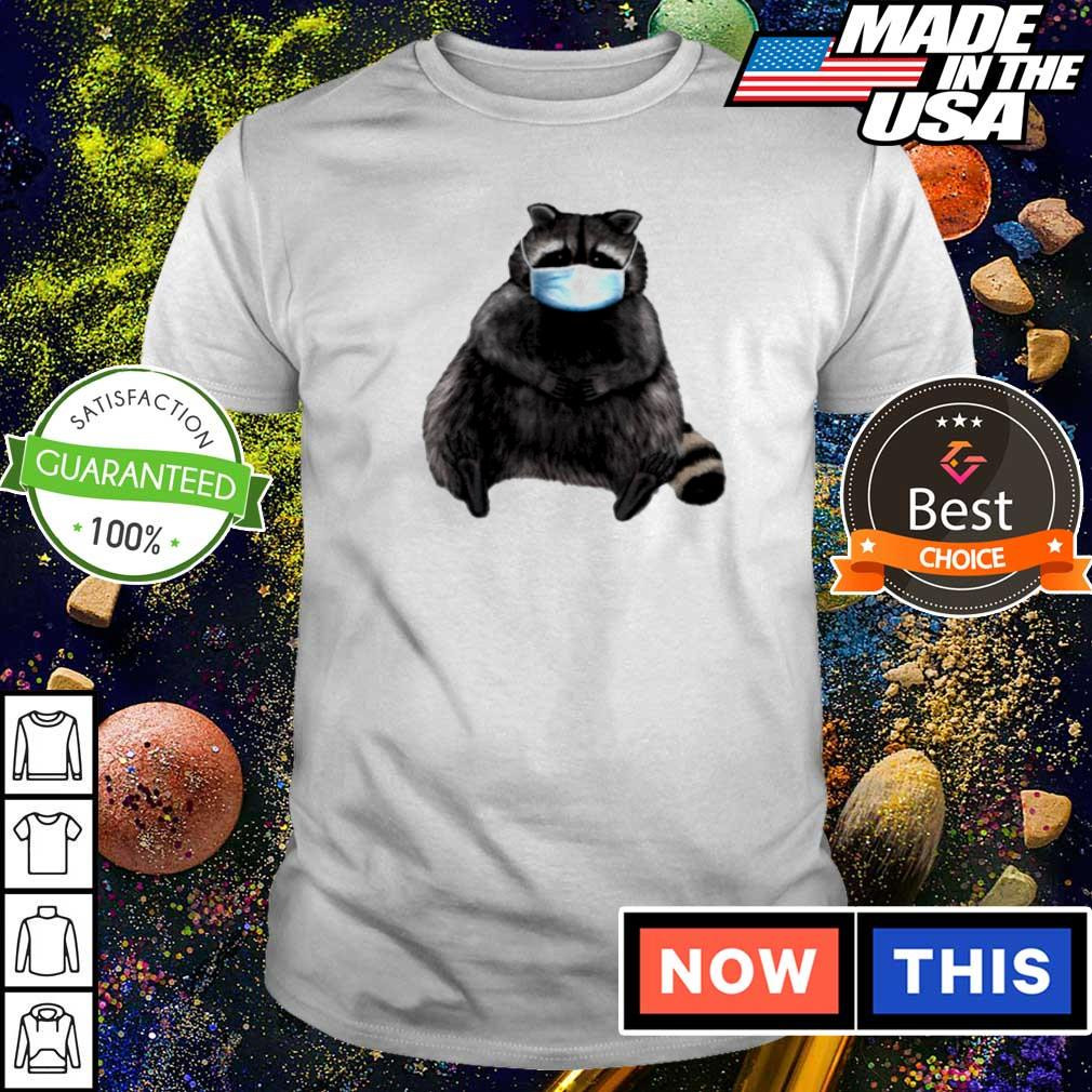 Sweet racoon wearing facemask shirt