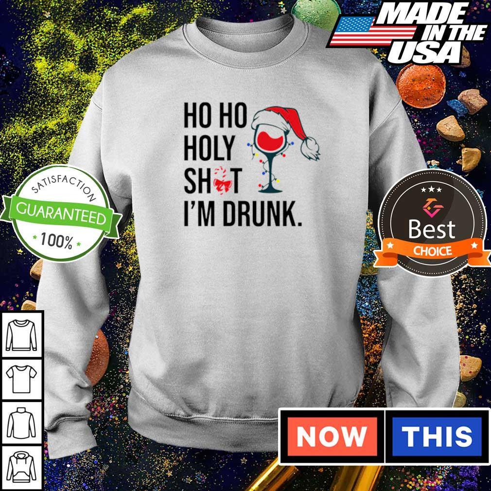 Wine glass ho ho holy shit I'm drunk Christmas sweater