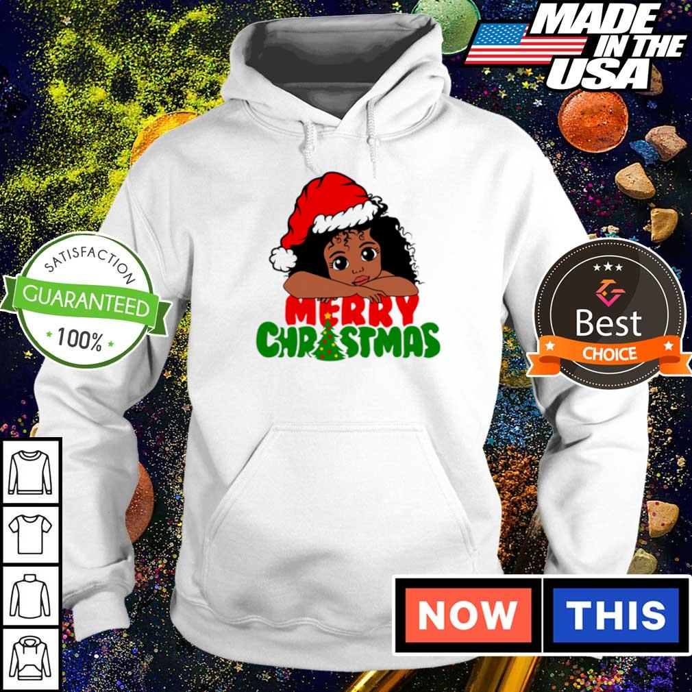 Baby black girl wearing Santa hat merry Christmas sweater hoodie