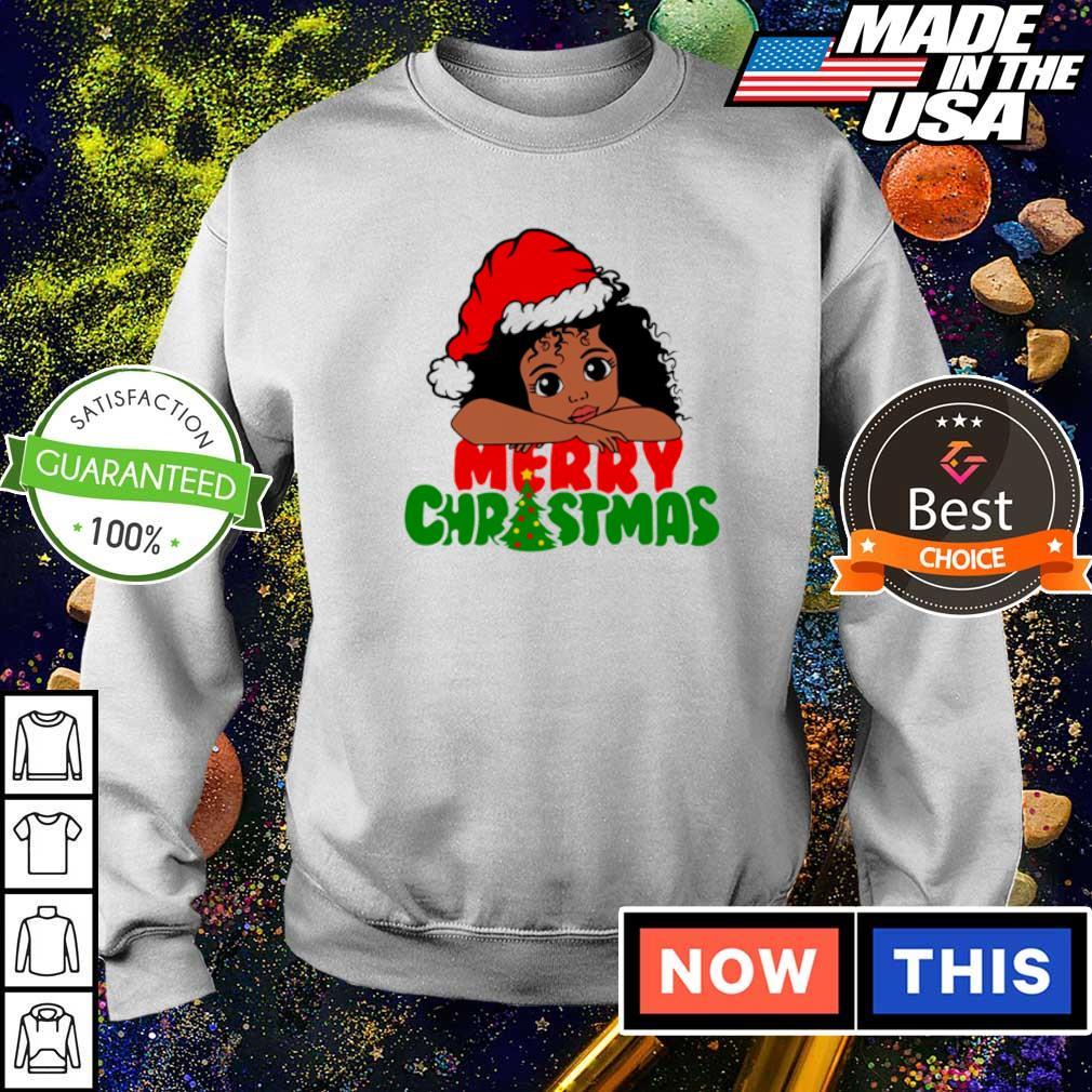 Baby black girl wearing Santa hat merry Christmas sweater