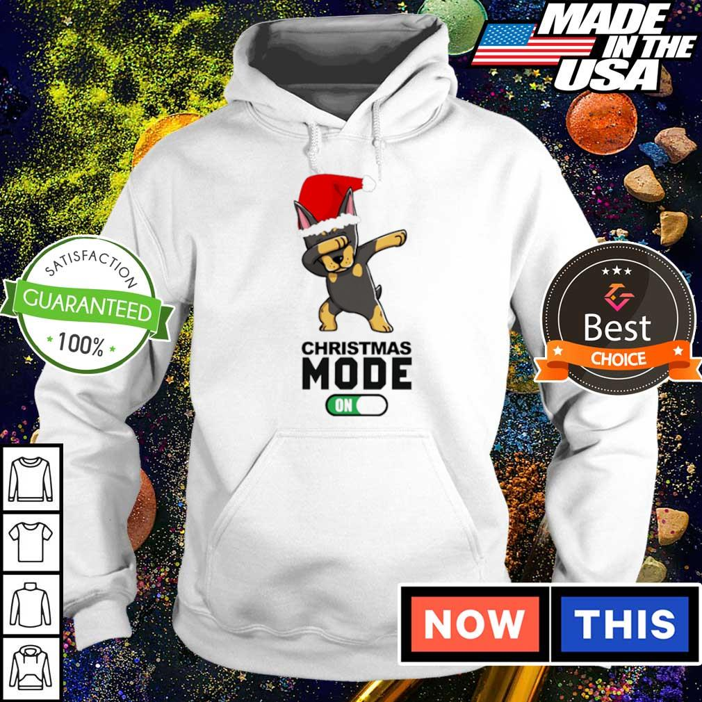 Dobermann dabbing Christmas mode on sweater hoodie