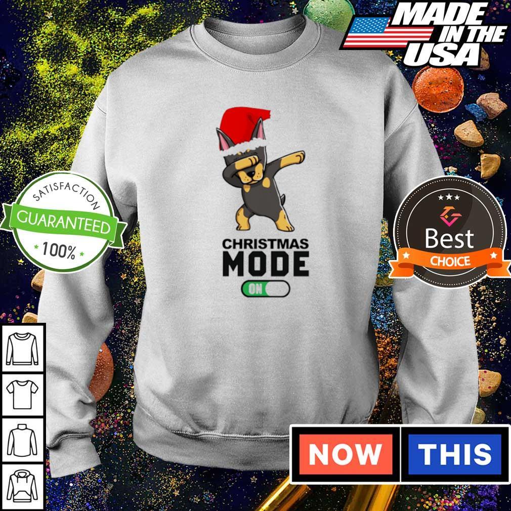 Dobermann dabbing Christmas mode on sweater