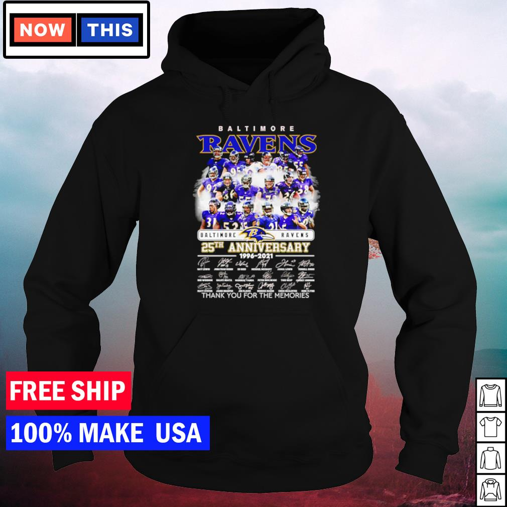 Baltimore Ravens 28th anniversary 1996 2021 thank you for the memories signature s hoodie