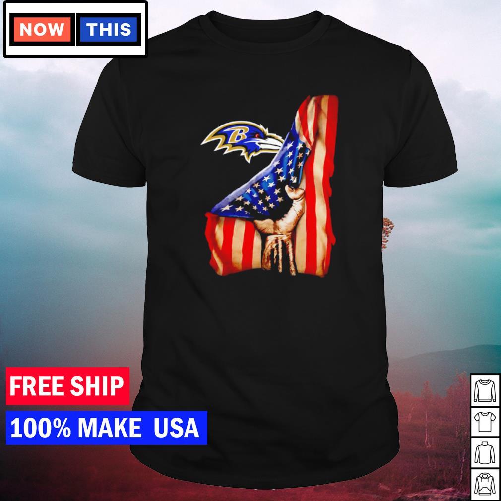 Baltimore Ravens and American Flag drop shirt