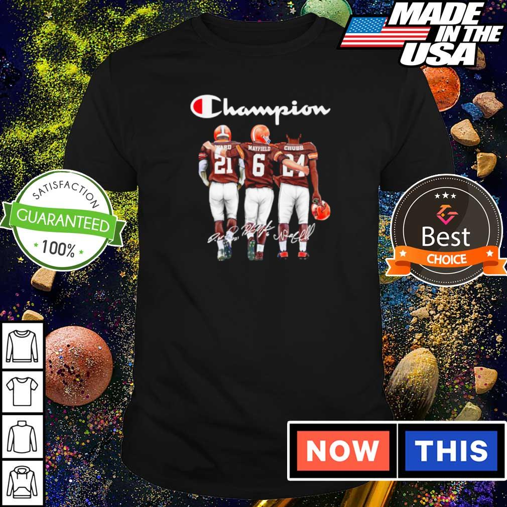 Cleveland Browns Ward Mayfield and Chubb signature Champion shirt