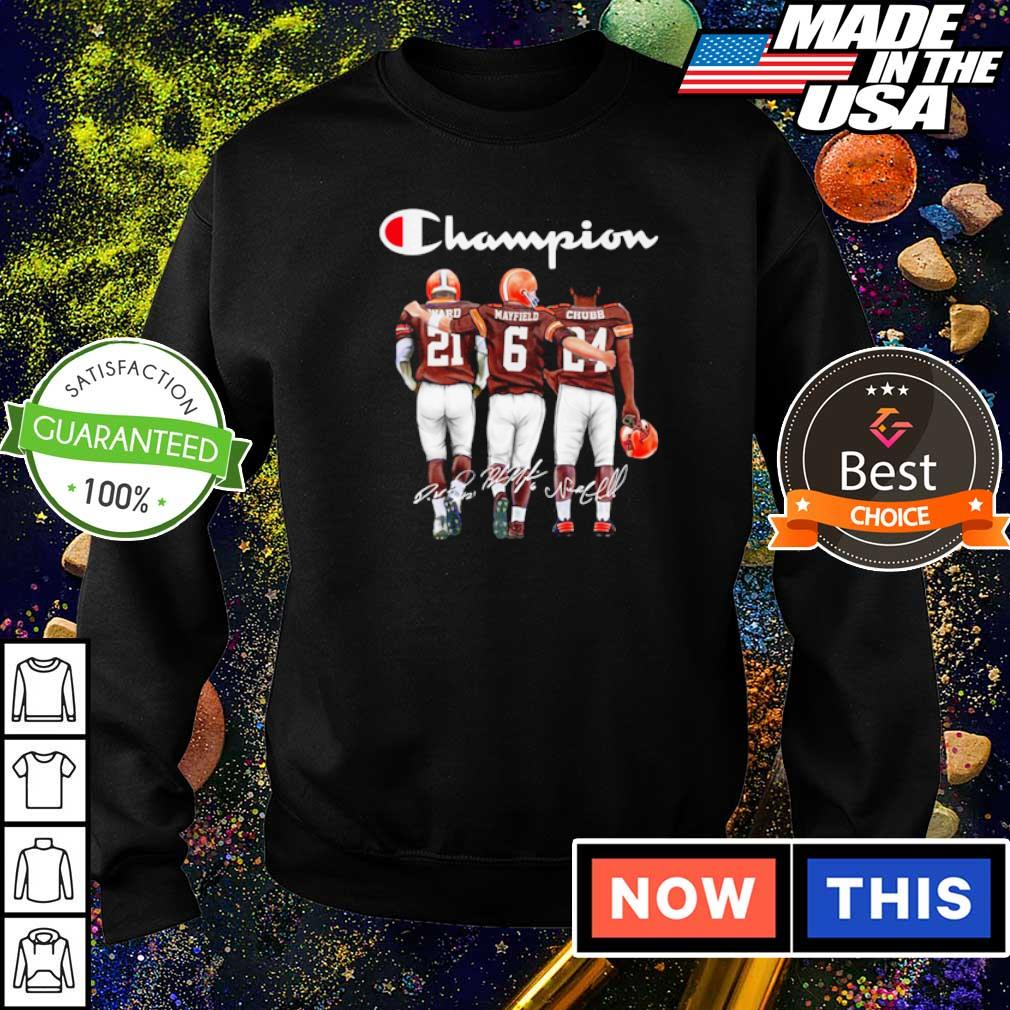 Cleveland Browns Ward Mayfield and Chubb signature Champion s sweater