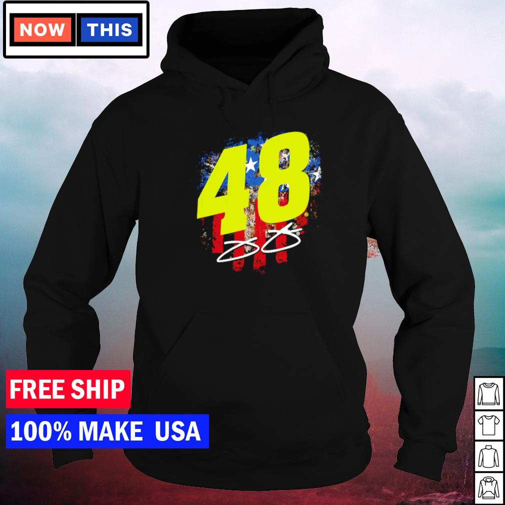 Number 48 Jimmie Johnson American Flag signature s hoodie
