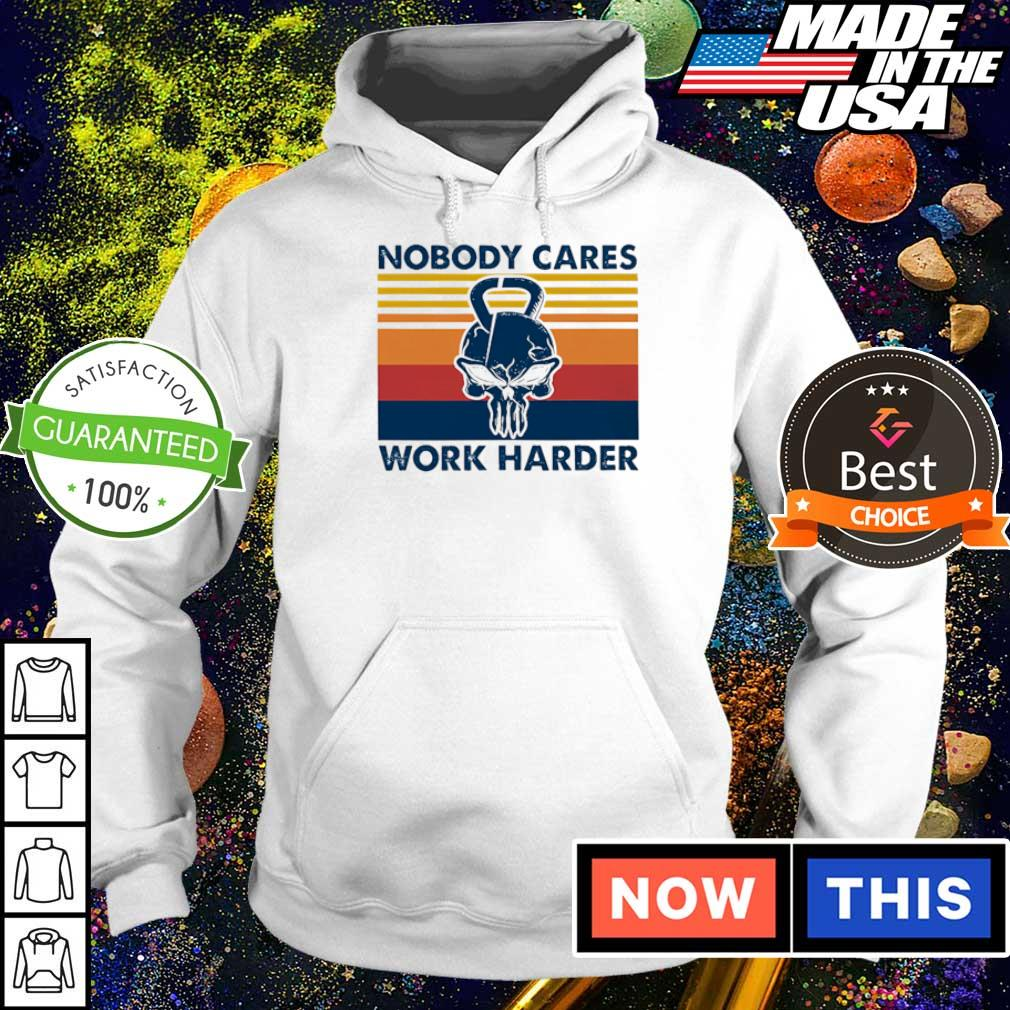 Skull dumbbel nobody cares work harder vintage s hoodie