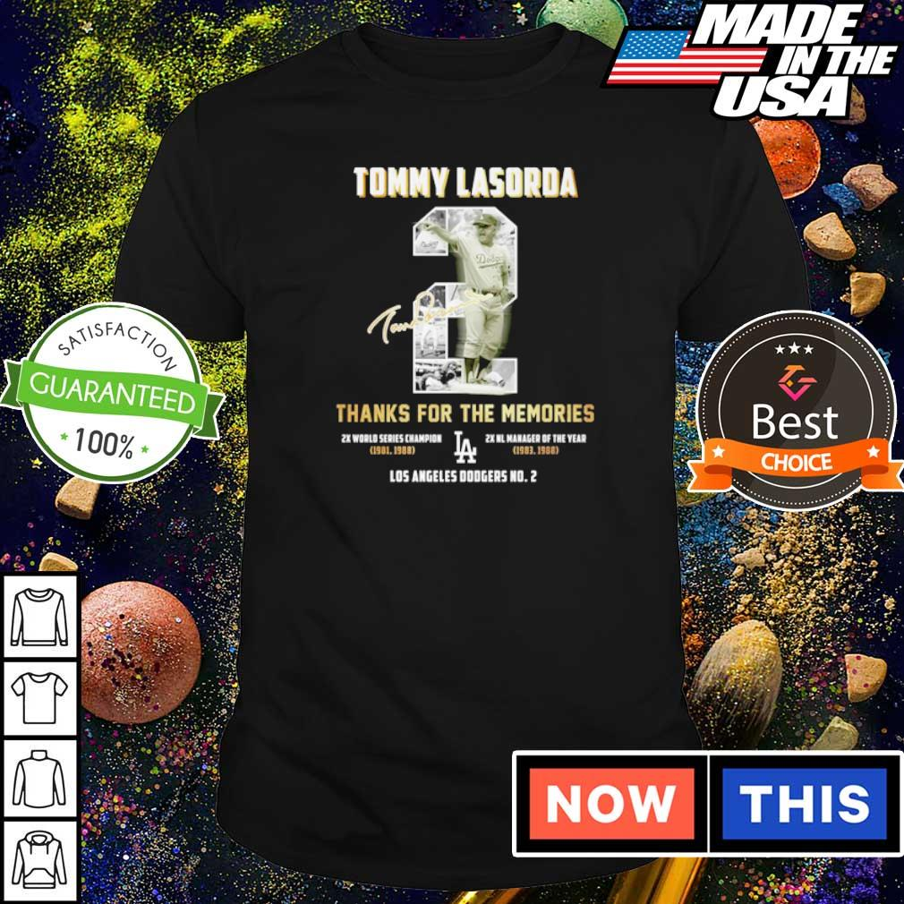 Tommy Lasorda thanks for the memories Los Angeles Dodgers No 2 signature s shirt
