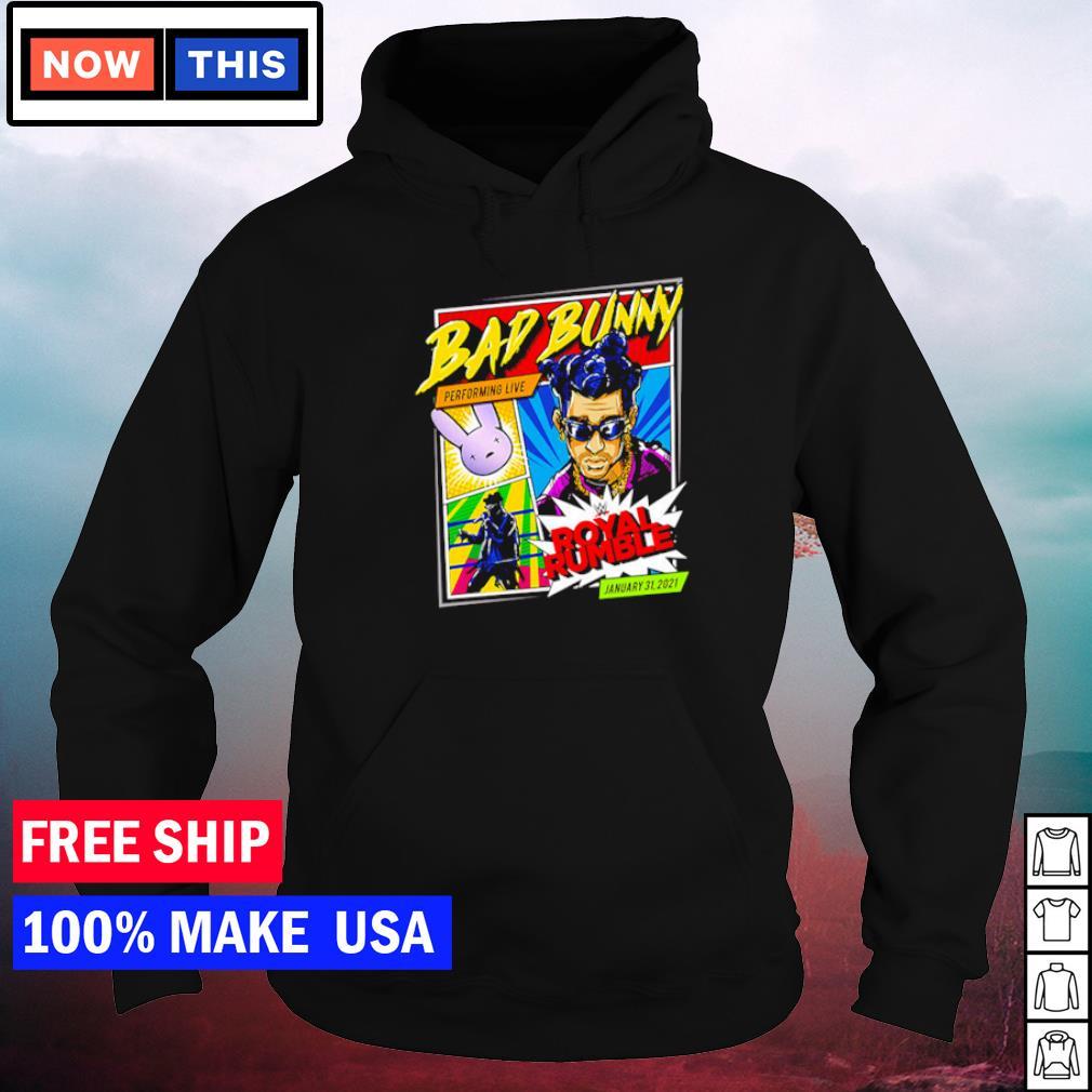 WWE Bad Bunny performing live Royal Rumble january 31 2021 s hoodie